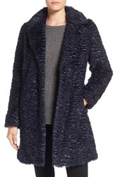 Eliza J Women's Faux Persian Lamb Coat Midnight