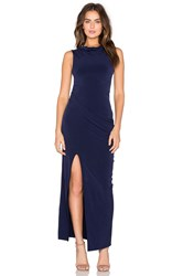 Bobi Black Liquid Jersey Cowl Neck Maxi Dress Navy
