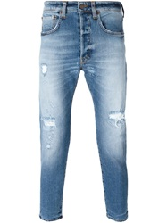 People People Distressed Tapered Jeans Blue