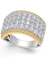 Macy's Diamond Multi Row Band 3 Ct. T.W. In 14K White And Yellow Gold Two Tone