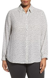 Foxcroft Plus Size Women's Dot Print Long Sleeve Blouse