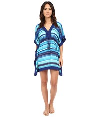 Lauren Ralph Lauren Sunset Stripe Sydney Tunic Cover Up Blue Women's Swimwear