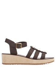 A.P.C. Vivienne Leather And Suede Wedge Sandals