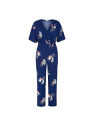 Yumi Peacock Print Wrap Jumpsuit Navy