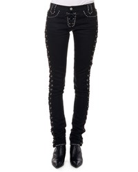 Saint Laurent Studded Jeans W Corset Sides Black
