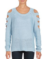 Design Lab Lord And Taylor Cold Shoulder Crewneck Cutout Sweater Sky Twist