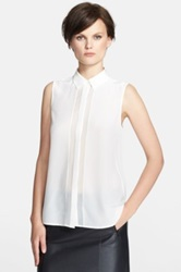 Vince Silk Sleeveless Button Up Blouse White