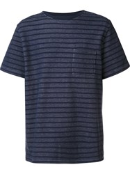 Saturdays Surf Nyc Striped Wide Fit T Shirt Blue