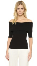 Vince Off Shoulder Pullover Black