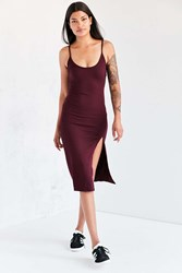 Silence And Noise Thigh Slit Midi Slip Dress Maroon