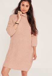 Missguided Oversize Mini Sweater Dress Pink Rose
