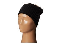 Plush Fleece Lined Faux Fur Pom Pom Hat Black Cold Weather Hats