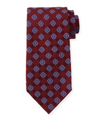 Charvet Medallion Print Silk Tie Red Blue