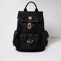 River Island Womens Black Oversized Flap Pocket Backpack