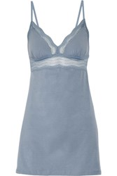 Cosabella Lace Trimmed Cotton Blend Babydoll Chemise Light Blue