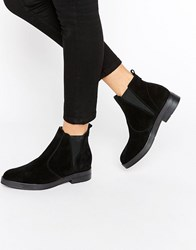 Pieces Ambra Suede Chunky Chelsea Boots Black Suede