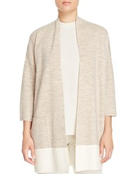 Eileen Fisher Color Block Kimono Cardigan Maple Oat