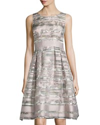 Kay Unger New York Sleeveless Printed Striped Fit And Flare Cocktail Dress Pink Multi
