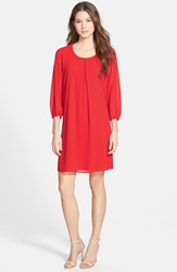 Pleione Three Quarter Sleeve Pleat Front Dress Regular And Petite Hot Coral