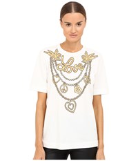 Love Moschino T Shirt With Gold White