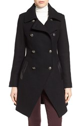 Trina Turk Petite Women's Wool Blend Military Coat Black