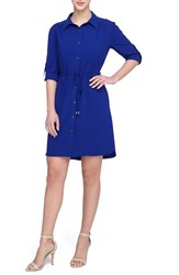 Tahari Petite Women's Crepe Shirtdress Cobalt