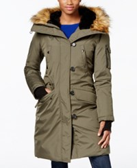 S13 Faux Fur Trim Hooded Down Parka Army