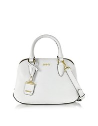 Dkny Fine Pebble Leather City Zip Small Satchel White