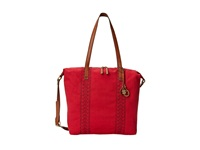 Lucky Brand Grenada Washed Linen Tote Pomegranate Tote Handbags Pink