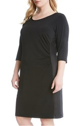 Karen Kane Plus Size Women's Faux Leather Inset Jersey Sheath Dress Black