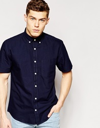 Only And Sons Short Sleeve Oxford Shirt Nightskynavy