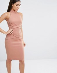Naanaa Midi Pencil Dress With Cross Front Detail Tawny Rose Pink