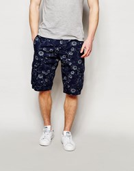 French Connection Floral Cargo Shorts Navy