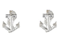 Betsey Johnson Anchor Stud Earrings Crystal Rhodium Earring Silver