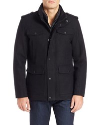 Guess Wool Blend Jacket With Removable Bib Black