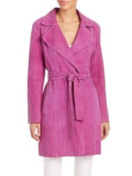 Dawn Levy Gisele Suede Trenchcoat Fuschia Grey