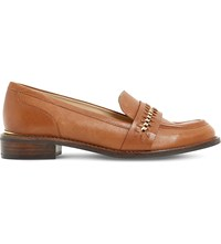 Dune Gerard Chain Trim Leather Loafers Dark Tan Leather
