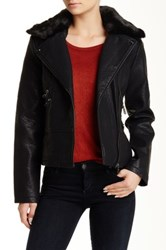 Steve Madden Faux Fur Trim Faux Leather Jacket Black