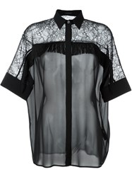 Versace Fringed Lace Blouse Black