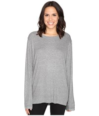 Heather Split Front Long Sleeve Top Light Grey Women's Clothing Silver