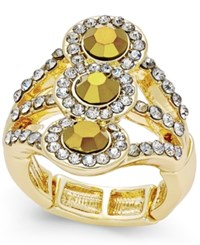 Inc International Concepts Gold Tone Yellow Crystal Stretch Ring Only At Macy's