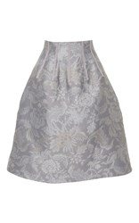 Oscar De La Renta Floral A Line Skirt Light Grey