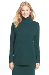 Petite Women's Halogen Mock Turtleneck Sweater Green Ponderosa