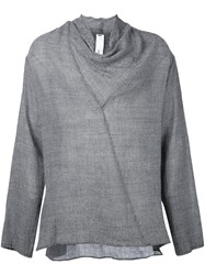 Damir Doma Cowl Neck Knitted Top Grey