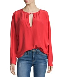 Frame Denim Le Raglan Split Neck Blouse Blood Orange
