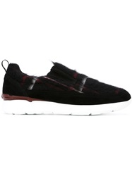 Msgm Faux Fur Checked Sneakers Black