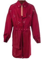 Raf Simons Eyelet Raincoat Red