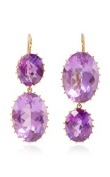 Renee Lewis Antique Amethyst Drop Earrings Purple