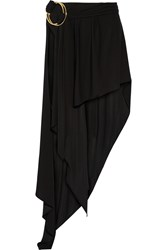 Anthony Vaccarello Layered Stretch Jersey Maxi Skirt Black
