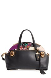 Coach 'Outlaw 36' Leather Patchwork Satchel With Genuine Shearling Trim